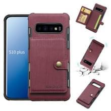 Voor Galaxy S10 PLUS geborsteld textuur schokbestendig PU + TPU case  met kaartsleuven & portemonnee & fotolijstjes (wijn rood)