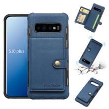 Voor Galaxy S10 PLUS geborsteld textuur schokbestendig PU + TPU case  met kaartsleuven & portemonnee & fotolijstjes (blauw)