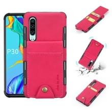 Voor Huawei P30 doek textuur + TPU schokbestendige beschermhoes met verticale Flip kaartsleuven (Rose rood)