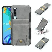 Voor Huawei P30 doek textuur + TPU schokbestendige beschermhoes met verticale Flip kaartsleuven (grijs)