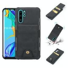 Voor Huawei P30 Pro doek textuur + TPU schokbestendige beschermhoes met verticale Flip kaartsleuven (zwart)