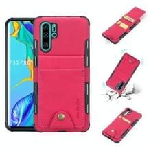 Voor Huawei P30 Pro doek textuur + TPU schokbestendige beschermhoes met verticale Flip kaartsleuven (Rose rood)