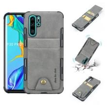Voor Huawei P30 Pro doek textuur + TPU schokbestendige beschermhoes met verticale Flip kaartsleuven (grijs)