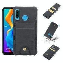Voor Huawei P30 Lite doek textuur + TPU schokbestendige beschermhoes met verticale Flip kaartsleuven (zwart)