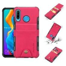 Voor Huawei P30 Lite doek textuur + TPU schokbestendige beschermhoes met verticale Flip kaartsleuven (Rose rood)