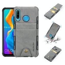 Voor Huawei P30 Lite doek textuur + TPU schokbestendige beschermhoes met verticale Flip kaartsleuven (grijs)