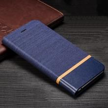 Voor Microsoft Lumia 640 LTE Canvas Driekleurige Stiksels Business Horizontal Flip Leather Case met houder & Card Slot (Blauw)
