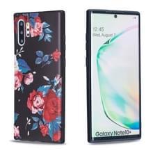 Voor Galaxy Note10 + reliëf geschilderd patroon TPU case (rode bloem)