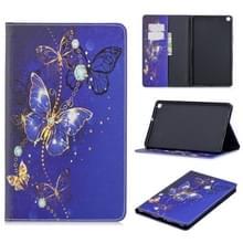 Voor Galaxy tab A 8 0 (2019) T290 gekleurde tekening patroon horizontale Flip lederen draagtas met houder & kaartsleuven & portemonnee (paarse vlinder)