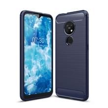 Voor Nokia 7 2 & 6 2 geborsteld textuur koolstofvezel TPU beschermhoes (marineblauw)