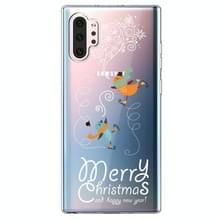 Voor Galaxy Note10 Pro trendy cute Christmas patroon duidelijk TPU beschermende case (Ski vogel)