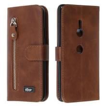 Voor Sony Xperia XZ3 rits horizontale Flip lederen draagtas met portemonnee & houder & kaartsleuven (bruin)