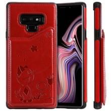 Voor Galaxy Note9 kat Bee reliëf patroon schokbestendige beschermende case met kaartsleuven & fotolijstjes (rood)