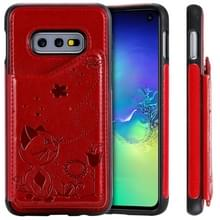 Voor Galaxy S10e kat Bee reliëf patroon schokbestendige beschermende case met kaartsleuven & fotolijstjes (rood)