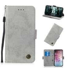 Voor Galaxy Note 10 plus retro horizontale Flip PU lederen draagtas met kaartsleuven & houder (grijs)