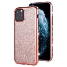 Voor iPhone 11 Pro Max Diamond ingelegde Flash poeder TPU case (Rose goud)