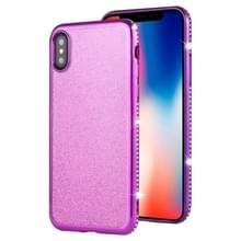 Voor iPhone XS/X Diamond ingelegde Flash poeder TPU case (paars)