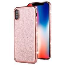 Voor iPhone XS/X Diamond ingelegde Flash poeder TPU case (Rose goud)