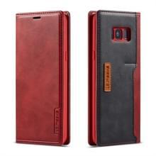 Voor de Galaxy S8 PLUS LC. IMEEKE LC-001 serie PU + TPU kleur bijpassende Frosted horizontale Flip lederen draagtas met houder & kaartsleuf (rood)