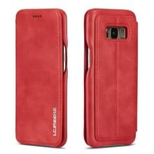Voor Galaxy S8 Hon oude serie lederen draagtas met kaartsleuven & houder & portemonnee (rood)