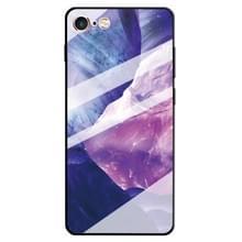 Voor iPhone 6 & 6s marmer patroon glas beschermende case (Rock paars)