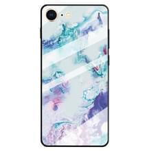 Voor iPhone 8 & 7 marmer patroon glazen beschermhoes (inkt paars)