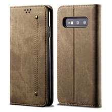 Voor Galaxy S10e denim textuur casual stijl horizontale Flip lederen draagtas met houder & kaartsleuven & portemonnee (kaki)