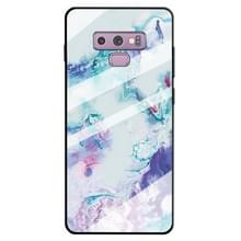 Voor Galaxy Note 9 marmer patroon glas beschermende case (inkt paars)