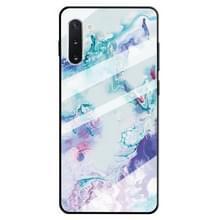 Voor Galaxy Note 10 marmer patroon glas beschermende case (inkt paars)