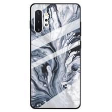 Voor Galaxy Note 10 + marmer patroon glazen beschermhoes (inkt zwart)