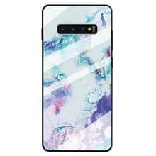 Voor Galaxy S10 marmer patroon glas beschermende case (inkt paars)