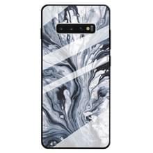 Voor Galaxy S10 PLUS marmer patroon glazen beschermhoes (inkt zwart)
