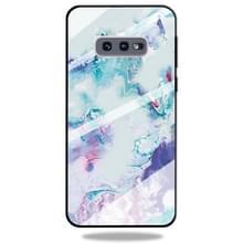 Voor Galaxy S10e marmer patroon glas beschermende case (inkt paars)