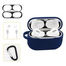Voor AirPods Pro silicone draadloze oortelefoon beschermende case opbergdoos met haak & anti-drop touw (blauw + zwarte innerlijke sticker)