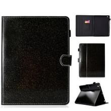 Voor iPad 2/3/4 varnish glitter poeder horizontale Flip lederen draagtas met houder & kaartsleuf (zwart)