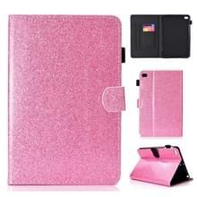 Voor iPad Mini 1/2/3/4/5 varnish glitter poeder horizontale Flip lederen draagtas met houder & kaartsleuf (roze)