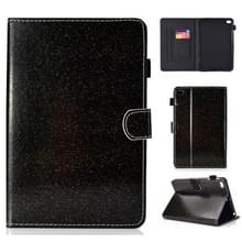 Voor iPad Mini 1/2/3/4/5 varnish glitter poeder horizontale Flip lederen draagtas met houder & kaartsleuf (zwart)