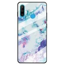 Voor Huawei P30 Lite marmer patroon glas beschermende case (inkt paars)