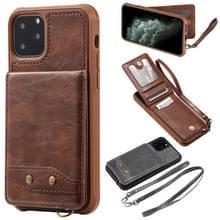 Voor iPhone 11 Pro verticale Flip Wallet schokbestendig terug cover beschermhoes met houder & kaartsleuven & Lanyard & Foto's frames (koffie)
