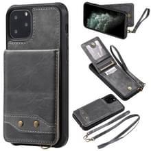 Voor iPhone 11 Pro Vertical Flip Wallet Shockproof Back Cover Protective Case met Houder & Card Slots & Lanyard & Photos Frames(Gray)