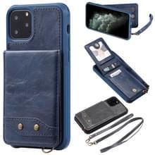 Voor iPhone 11 Pro Vertical Flip Wallet Shockproof Back Cover Protective Case met Houder & Card Slots & Lanyard & Photos Frames(Blue)