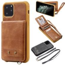 Voor iPhone 11 Pro Vertical Flip Wallet Shockproof Back Cover Protective Case met Houder & Card Slots & Lanyard & Photos Frames(Brown)