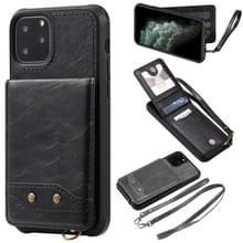 Voor iPhone 11 Pro Vertical Flip Wallet Shockproof Back Cover Protective Case met Houder & Card Slots & Lanyard & Photos Frames(Zwart)