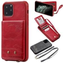 Voor iPhone 11 Pro verticale Flip Wallet schokbestendig terug cover beschermhoes met houder & kaartsleuven & Lanyard & Foto's frames (rood)