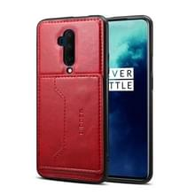 Voor OnePlus 7T Pro Dibase TPU + PC + PU Crazy Horse Texture Protective Case  met Houder & Card Slots(Rood)