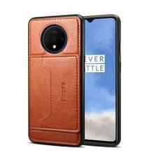 Voor OnePlus 7T Dibase TPU + PC + PU Crazy Horse Texture Protective Case  met Houder & Card Slots(Brown)