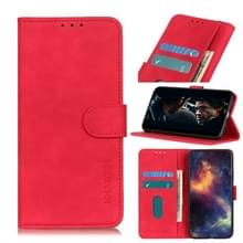 Voor Wiko Y70 Retro Texture PU + TPU Horizontal Flip Leather Case met Houder & Card Slots & Wallet(Red)