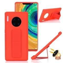 Voor Huawei Mate 30 Shockproof PC + TPU Beschermhoes met polsbandje & houder (rood)