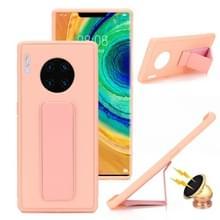 Voor Huawei Mate 30 Shockproof PC + TPU Beschermhoes met Polsbandje & Holder(Pink)