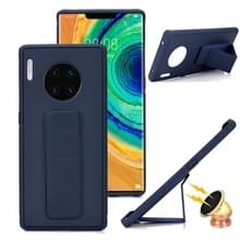 For Huawei Mate 30 Shockproof PC + TPU Protective Case with Wristband & Holder(Navy Blue)